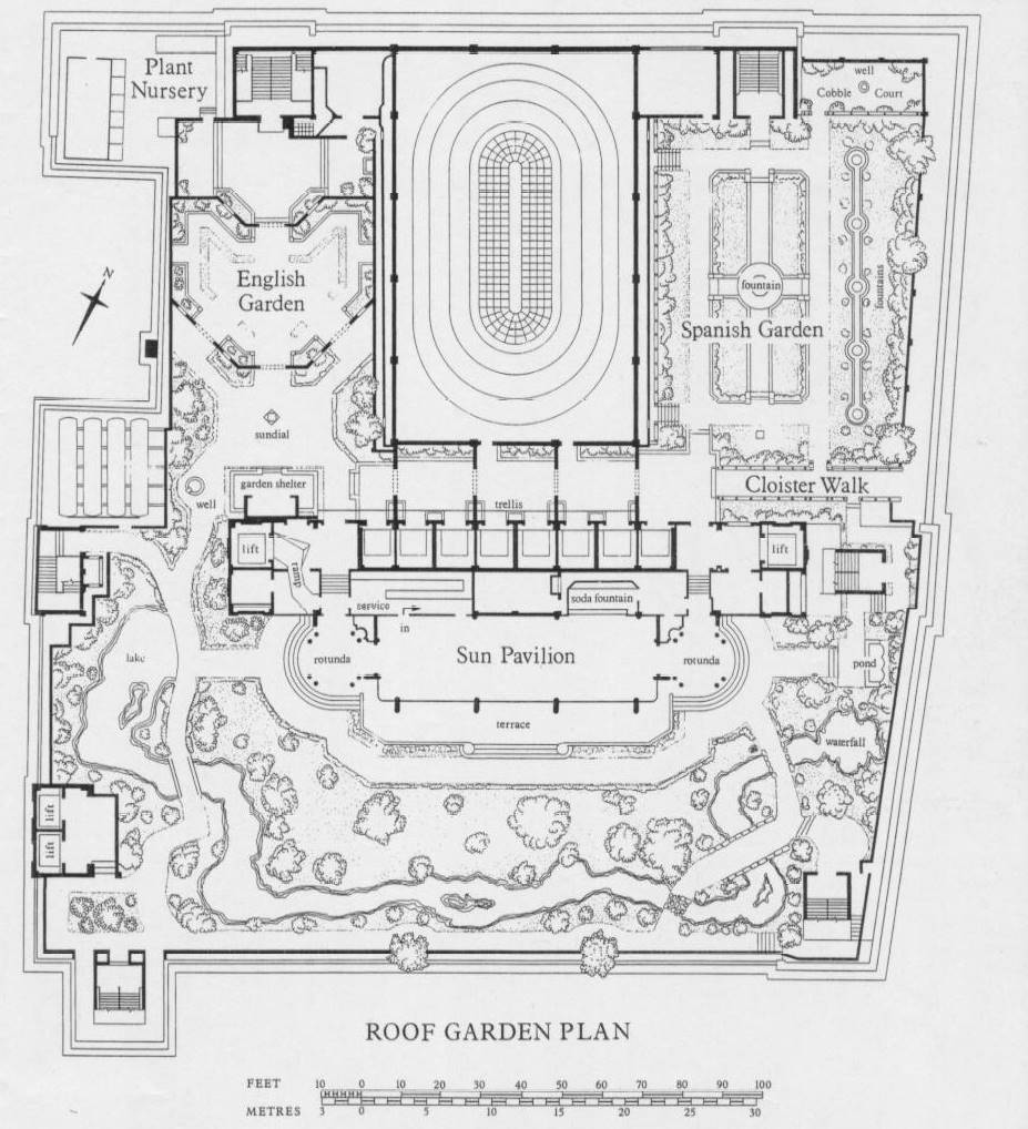 The roof garden derry and toms summer 1973 kasia charko for Roof garden floor plan